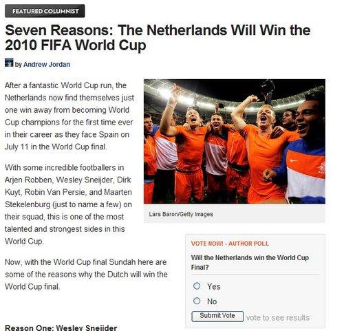 美媒7大理由力挺荷兰登顶:冠军就是他们的命