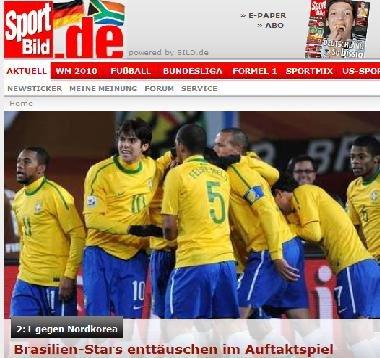 图片报:朝鲜赢得世人尊重 巴西未入最佳状态