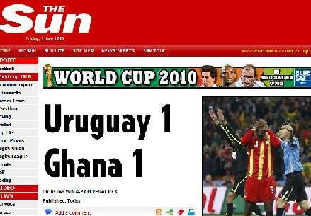 太阳报:加纳使非洲骄傲 乌拉圭40年再入决赛