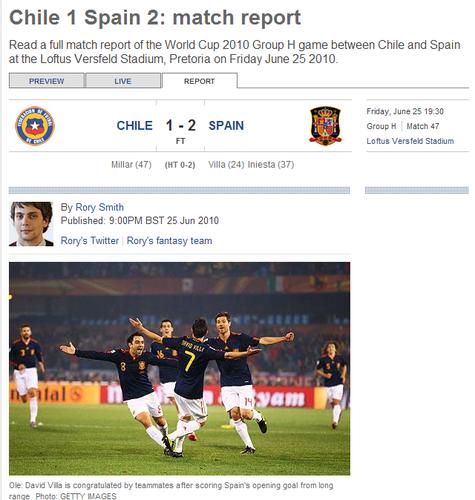 """每日电讯:智利像""""疯子"""" 西班牙仍有望夺冠"""
