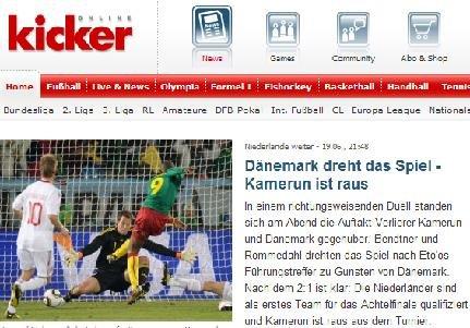 踢球者:一老一少互报桃李 丹麦送喀麦隆回家