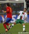 图文:西班牙1-0葡萄牙 西芒铲断犯规