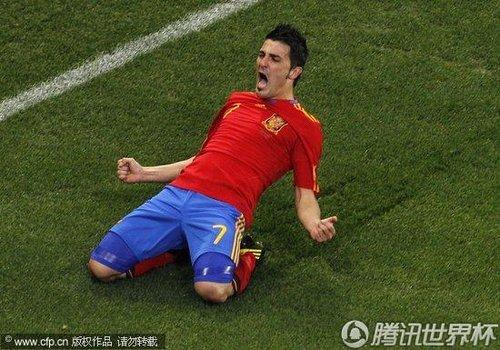 图文:西班牙1-0葡萄牙 比利亚庆祝进球