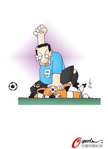 """漫画:乌拉圭拳打""""太极虎"""""""