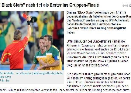 德国体育:澳大利亚逼平加纳 黑星4分领跑D组
