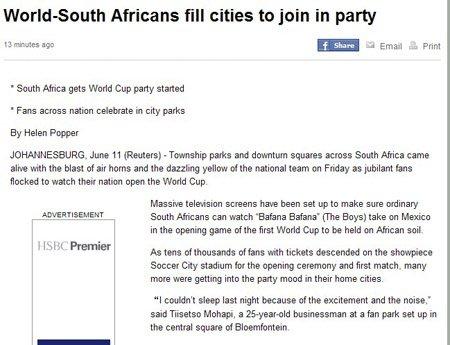 路透社:开幕式让球迷热血沸腾 南非空前团结