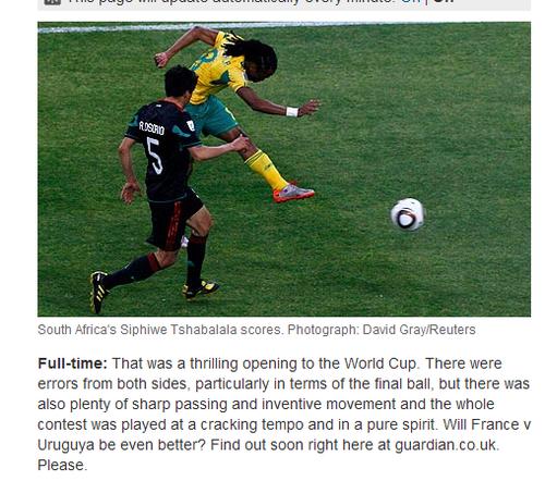 卫报:南非1-1墨西哥 世界杯揭幕战激动人心