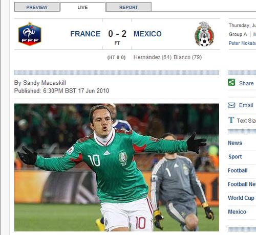 每日电讯:墨西哥2-0非偶然 法国队毫无亮点