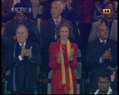 图文:德国VS西班牙 西班牙王后索菲亚观战