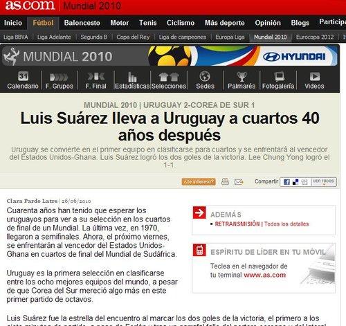 阿斯报:40年后再进8强 乌拉圭四场只丢一球