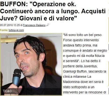 布冯:伤病08年已有甚至更早 遗憾意大利出局