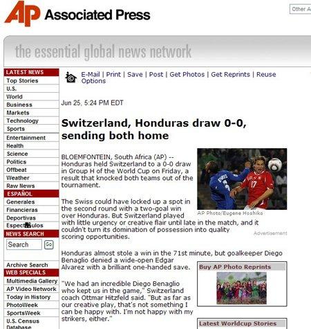 美联社:洪都拉斯憾平瑞士 两队惨遭淘汰