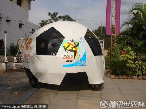 """2010世界杯花絮:印度人发明""""普天同庆""""环保三轮车"""
