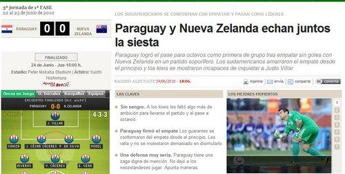 马卡报:巴拉圭追求平局 新西兰三战全平出局