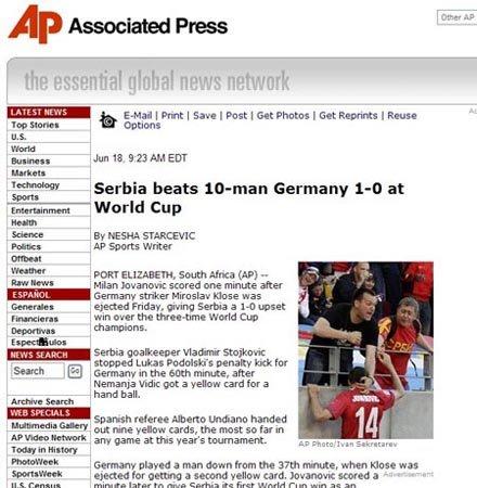 美联社:裁判9张黄牌创记录 德国遭红牌逆转
