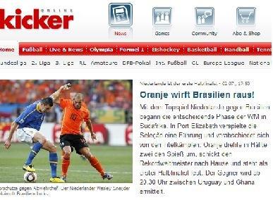 踢球者:荷兰队胜在团结 罗本抢眼逼急巴西队