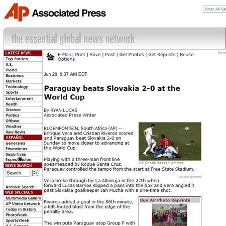 美联社:巴拉圭力挫斯洛伐克 三大神锋发威