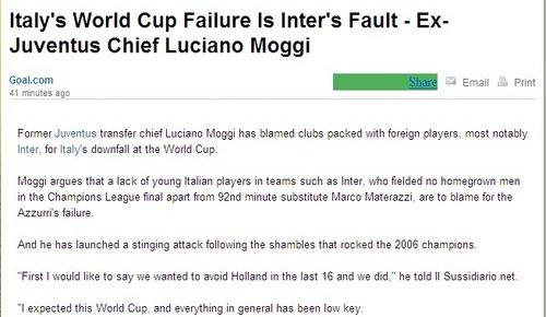 莫吉怒斥国米毁了意大利 2006年夺冠全靠尤文