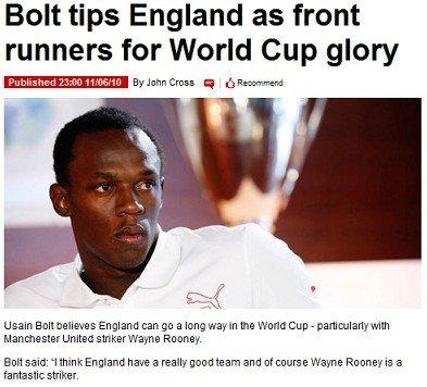 博尔特:英格兰队有实力夺冠 鲁尼发挥最关键