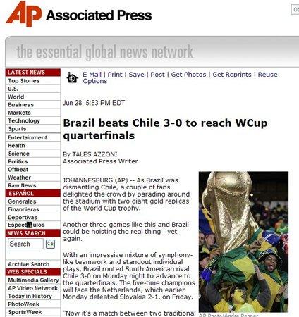 美联社:巴西轻取智利 期待与荷兰巅峰对决