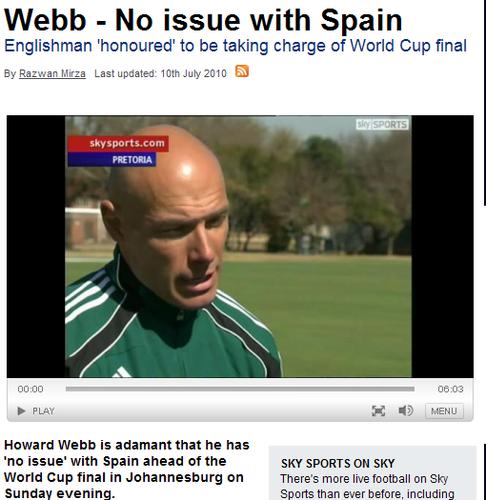 韦伯:能执法决赛很光荣 我对西班牙绝没偏见