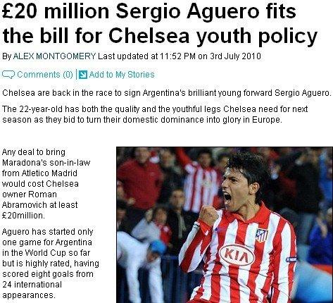 切尔西2000万再劫阿奎罗 两原因让他必走不可