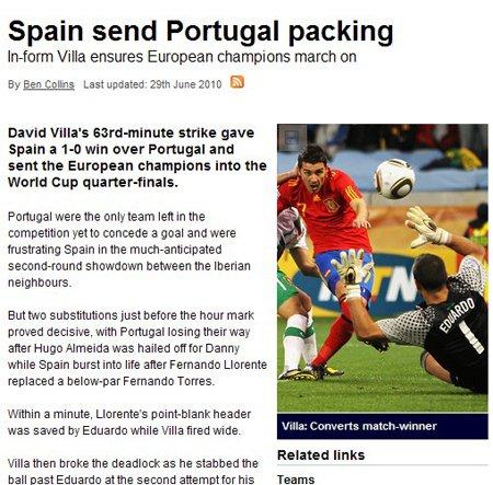 天空体育报:比利亚打破僵局 西班牙艰难取胜