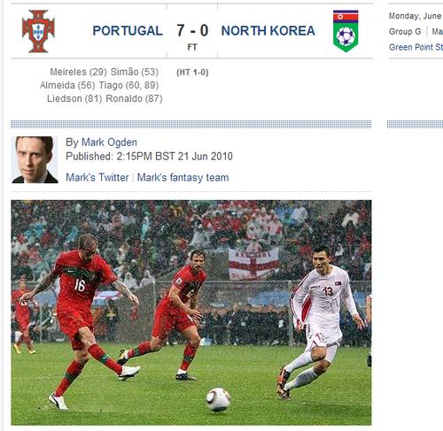 每日电讯:葡萄牙半场狂轰 7比0送朝鲜队出局