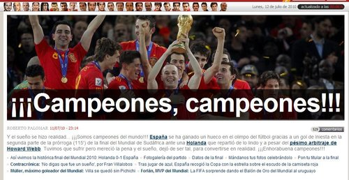马卡报:世界冠军西班牙 橙衣军团踢法野蛮
