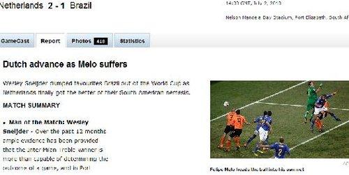 ESPN:巴西自掘坟墓遭淘汰 荷兰虽胜却有隐患