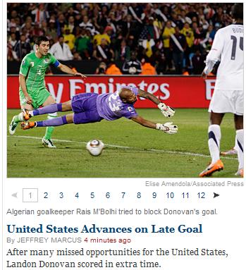 纽约时报:美国队临危不乱 补时绝杀令人兴奋