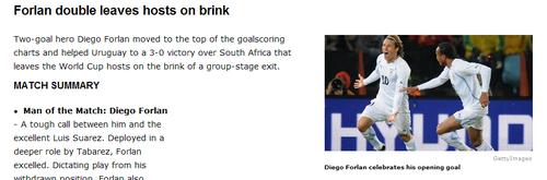 espn:乌拉圭队新阵型奏效 弗兰彰显大将之风