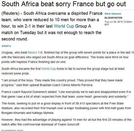 路透社:法国战败彻底沉沦 南非虽赢仍遭淘汰