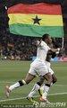 加纳队员挥舞国旗
