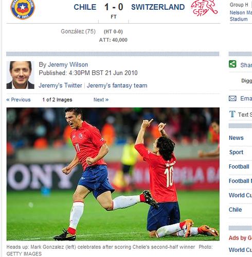 每日电讯:智利小胜瑞士 攻防相克因红牌失衡
