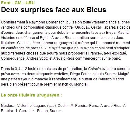 世界杯首战乌拉圭调阵型 献给法国队的见面礼