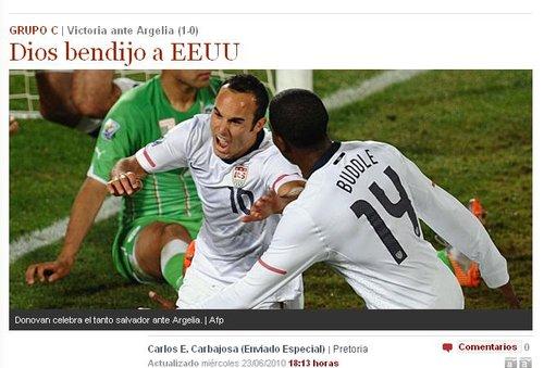 世界报:天佑美国 10年最出色国家队南非出现