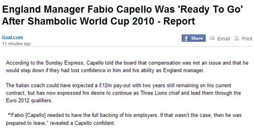 留任卡佩罗并非1200万英镑 英格兰剑指欧洲杯