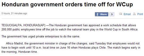 洪都拉斯比赛成盛典 举国休假只为观看世界杯
