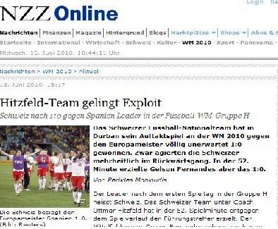 苏黎世报:瑞士创造历史 两将神勇保瑞士赢球