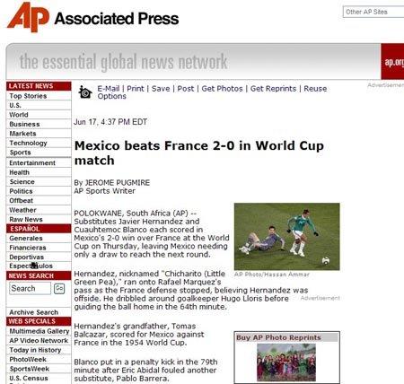 美联社:墨西哥出线在望 进球功臣接祖辈衣钵