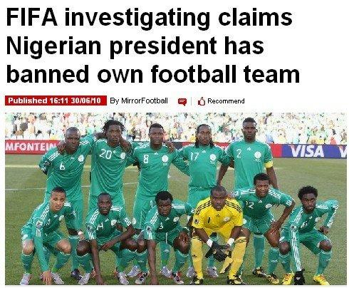 尼日利亚总统下令国家队禁赛2年 FIFA发警告