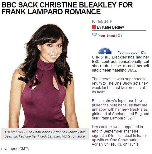 英格兰大将女友遭BBC解雇 火辣比基尼惹祸端