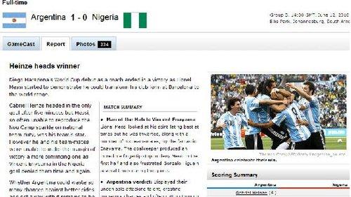 ESPN:阿根廷队轻松取首胜 进攻还需提供效率