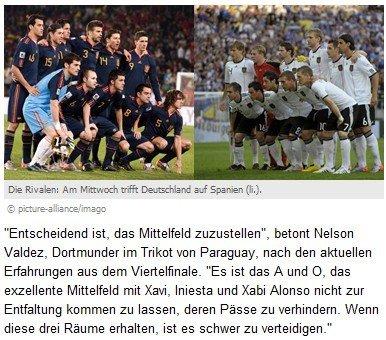 巴拉圭前锋献破西班牙秘诀 德国需控制三人组