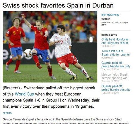 路透社:瑞士一雪前耻 1-0震慑西班牙