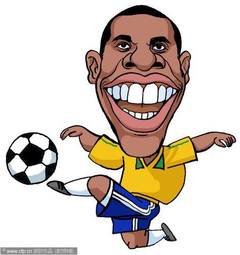漫画:世界杯球星脸谱 罗比尼奥