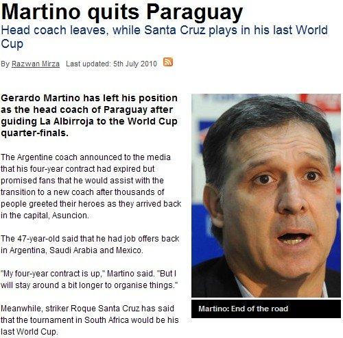巴拉圭主帅表示不再续约 八强成绩已创造历史