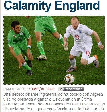 马卡报:英格兰的一场灾难 最后一轮必须取胜