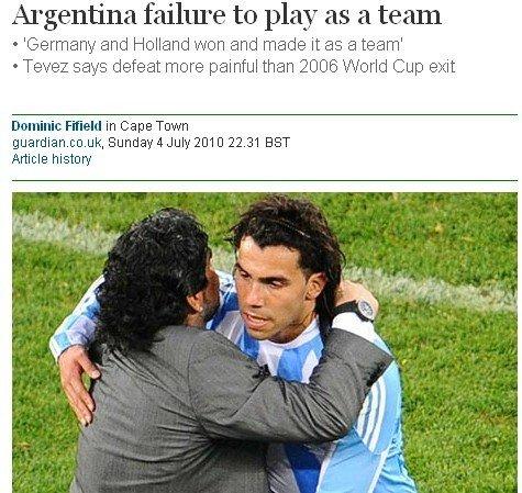 英媒曝特维斯斥队友 有人搞分裂致阿根廷出局